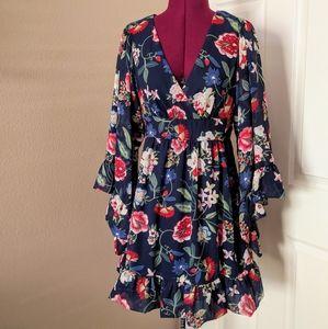 Betsey Johnson Ruffled Boho Floral Dress